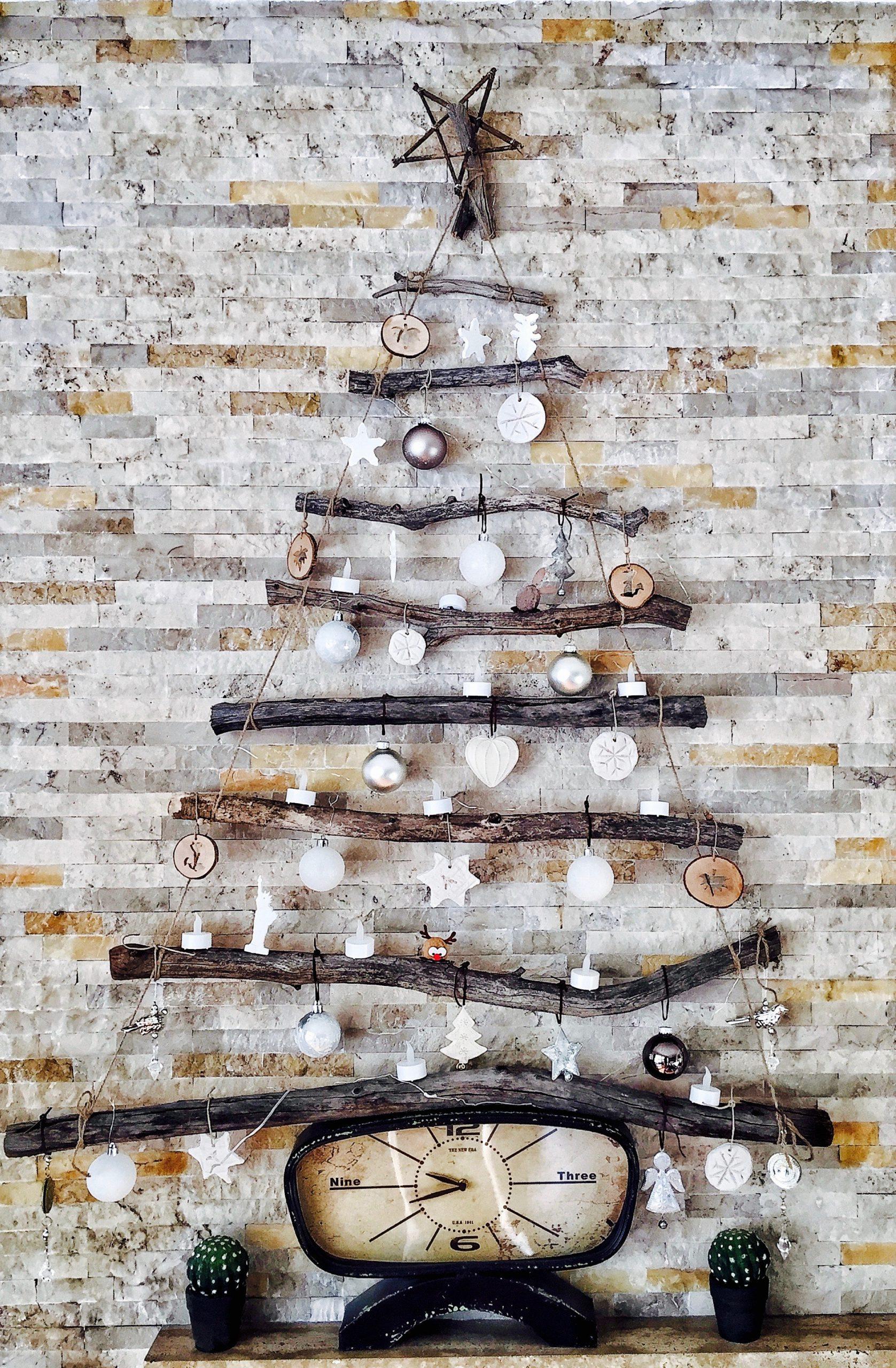 kerstboom hout muur