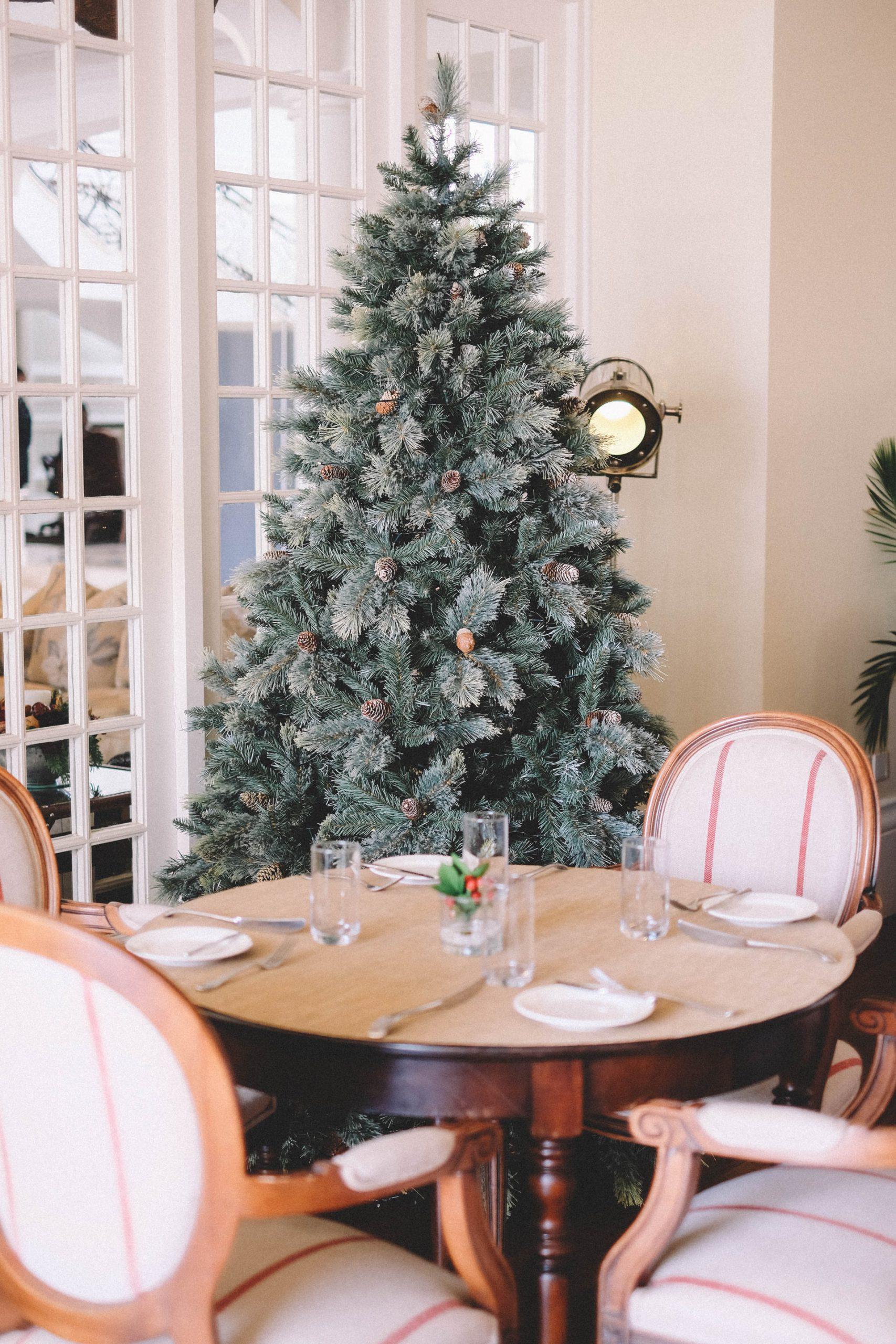 eetkamer met kerstboom